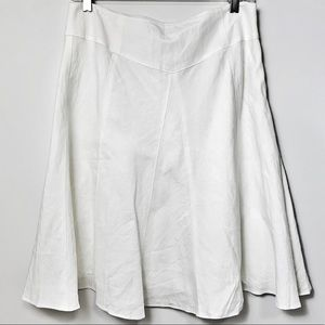 Ann Taylor White Linen Midi Knee Length Skirt